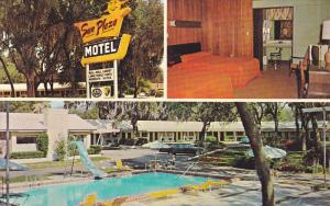 Swimming Pool, Sun Plaza Motel, Inside View, Classic Cars, SILVER SPRINGS, Fl...