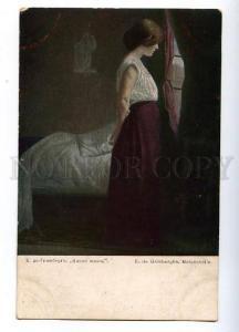 132026 Sad BELLE Lady near Window by GRIMBERGHE vintage PC