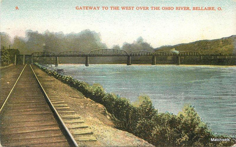 BELAIRE, OHIO Gateway  to the West over OH River #9 POSTCARD 6223