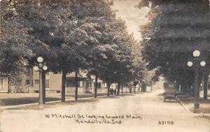Kendallville Indiana~West Mitchell Street Homes~Lamp Posts~1913 CR Childs RPPC