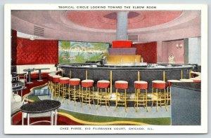 Chicago IL~Chez Paree Theatre Restaurant~ART DECO Tropical Circle Bar~1940 Linen