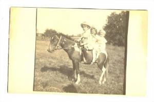 RP, Three Little Kids Riding A Pony, 1900-1910s