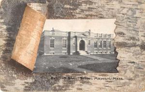 Maynard Masssachusetts birds eye view Bancroft St School antique pc Z21043
