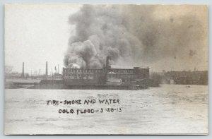 Columbus Ohio~Fire Smoke Water Surround Factory~Great Flood March 25 1913~B&W PC