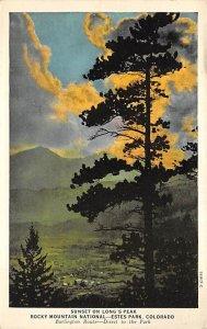 Burlington Train Postcard Rocky Mountain National Park Estes Park, Co, USA Un...
