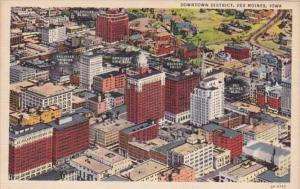 Iowa Des Moines Downtown District Aerial View Curteich