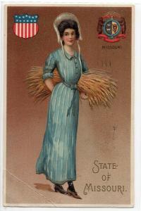 Missouri Lady & State Crest Antique Postcard (J5231)