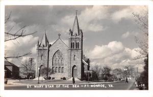 D71/ Fort Monroe Virginia Va RPPC Postcard 1940s St Mary Star of the Sea Church