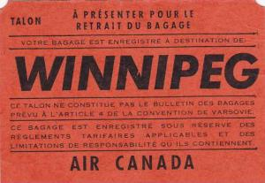Not a Postcard, Baggage Claim Stub Checked to Winnipeg, Trans-Canada Air Line...