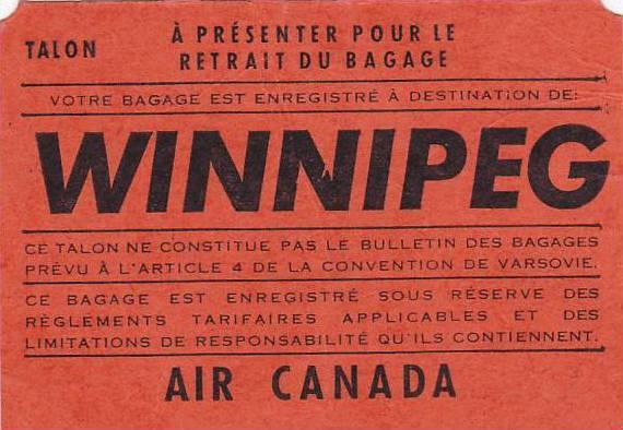 Not a Postcard, Baggage Claim Stub Checked to Winnipeg, Trans-Canada Air Line...