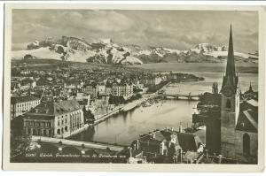 Switzerland, Zurich, Fraumunster vom St. Peterturm aus, 1929 used real photo