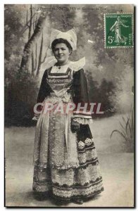 Old Postcard Folklore Female Pont Aven in party costume
