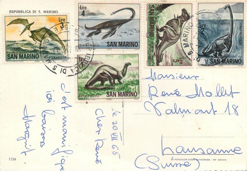 San Marino dinosaurs attractive franking stamps on postcard