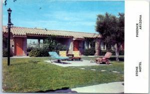 Phoenix, Arizona Postcard STONE MOTEL Patio View E. Van Buren c1960s Unused