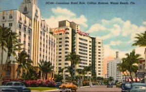 Florida Miami Beach Luxurious Hotel Row On Collins Avenue Curteich