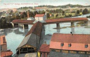 F52/ Zanesville Ohio Postcard 1909 Y Bridge Covered Bridge Mill