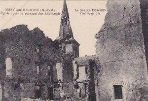 France Mont-Sur-Meurthe Eglise apres le passage des Allemands
