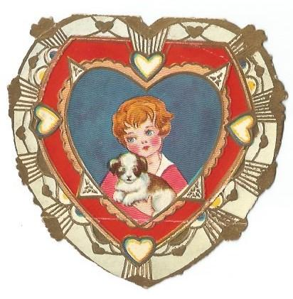 2 Die Cut Heart Shaped Valentine's Day Cards Kids at Party/Clown & Boy with Dog