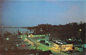 Yorktown Virginia~Nick's Seafood Pavilion Bird's Eye View @ Night~1950s Postcard