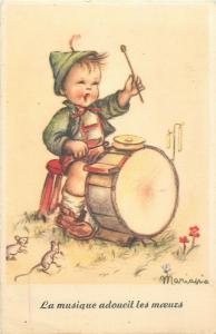 Mariana signed boy caricature drum mice fantasy postcard