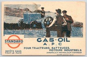 Belgium~American Petroleum Co~Standard Gas Oil~Farmer on Tractor~1938 Adv PC