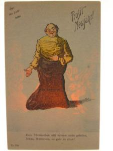 New Year German Comic of Woman Transparency Hold To Light HTL c1905 Postcard