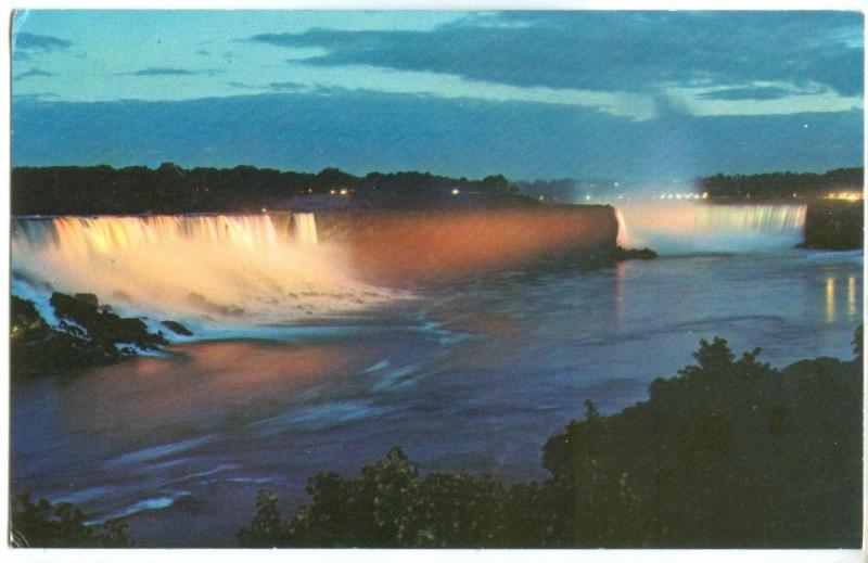 Canada, Illuminated view of Niagara Falls, unused Postcard