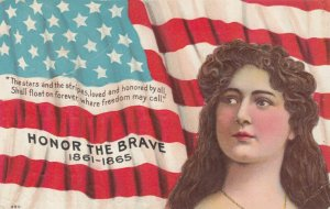 USA Flag & Girl , Honor the Brave 1861-1865 ; 1911