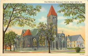 Rock Island Illinois~First Methodist Episcopal Church & Neighbors~1939 Postcard