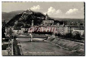 Graz - Steiermark - Mur und Schlossberg - Old Postcard