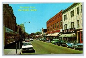 Vintage Postcard 1960's Maynard Massachusetts Mail Street UNPOSTED