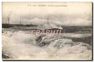 Le Havre - Port one day Tempete - Old Postcard