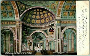 Baltimore, Maryland Postcard Interior of Cathedral Basilica Church 1910 Cancel