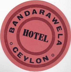 Ceylon Sri Lanka Bandarawela Hotel Vintage Luggage Label sk1107