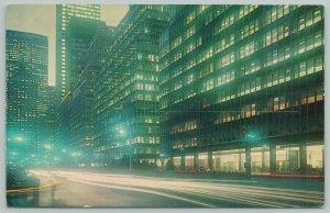 New York City~Park Avenue at Night~Office Buildings~Standard Chrome Postcard