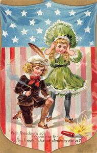 Patriotic~Victorian Boy & Girl Light Firecrackers~Emboss~TUCK Independence Day