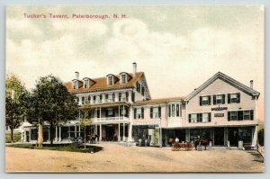 Peterborough NH~Tucker's Tavern~Men at Stable~IOOF Building~Hatch's Store~1908