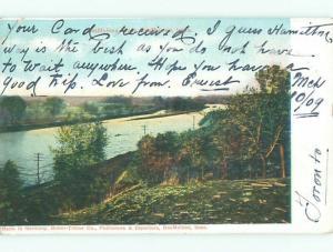 Pre-1907 TRAIN TRACK ALONG THE RIVER Des Moines Iowa IA Q2161