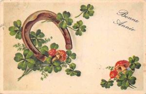 Bonne Annee! Happy New Year! Horseshoe Clover Shamrocks, Mushrooms 1938