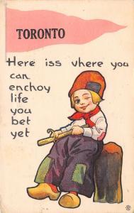 Enjoy Life in Toronto Ontario~You Bet~Boy Whittles~Carves Wood~1915 Pennant PC