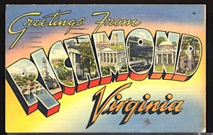 USA Postcard Large Letter Greetings From Richmond Virginia CDS 1943