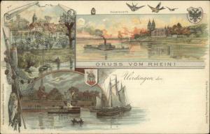 Gruss Vom Rhein - Uerdingen Krefeld Germany c1900 Postcard