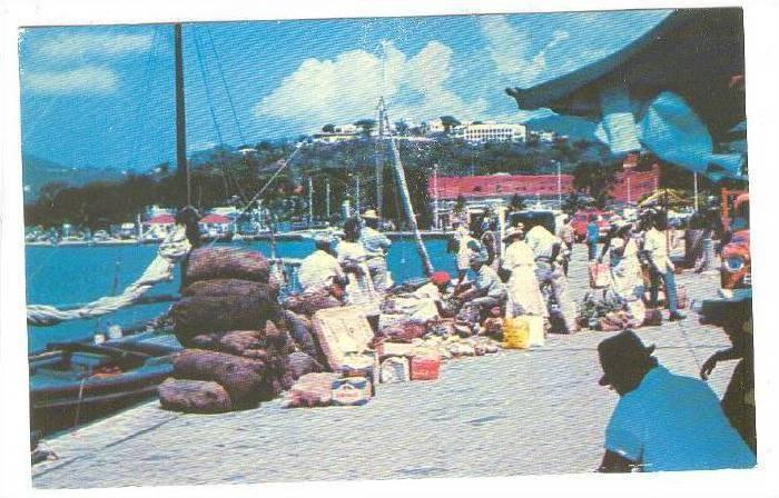 Waterfront Market scene, Charlotte Amalie, St. Thomas, Virgin Islands, 40-60s