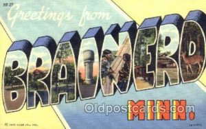 Greetings From Brainerd, Minnisota, USA Large Letter Town 1951 crease right t...