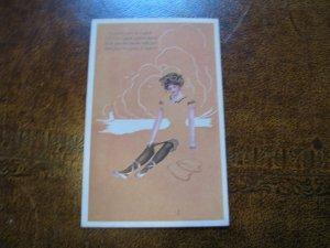 Fadeaway Postcard - Woman - Poem Gibson Art Company - O would I we're a cupid...