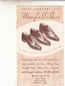 P1789  vintage mansfield shoes $5.50-6.50 a pair, maury,s barberton ohio