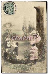 Old Postcard Fantaisie Letters Letter J