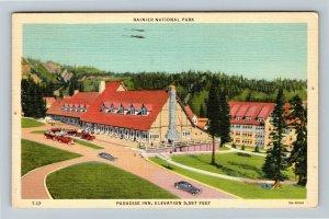 Rainier National Park Washington, Paradise Inn, Advertising Linen c1943 Postcard