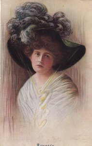 Reverie Woman wearing large feather hat, PU-1910