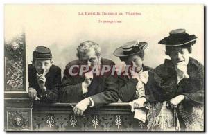 Old Postcard Fantasy humor the Durand family to the theater a sad way